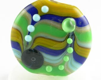 Beadbijoux Striped Handmade Lampwork Glass Focal Bead SRA Multicolor Mustard Yellow Aqua Green Cobalt Blue