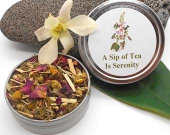Herbal Tea, Serenity Tea in Gift or Travel Tin - Tea Gift, Tea, Herbal Tea, Tisane, Gift Tea, Travel, Calming, Spearmint Tea, Flower Tea