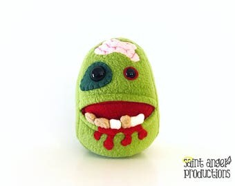 Undead Zombie Plushie, Green Walker with a Pocket Mouth, READY TO SHIP