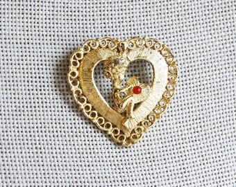 1960s Cupid Brooch Vintage Heart Beatrix Novelty Valentines Day