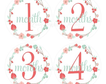 Baby Month Stickers Baby Girl Growth Decals Monthly Baby Stickers Baby Shirt Stickers Baby Shower Gift Coral Mint Floral Decals