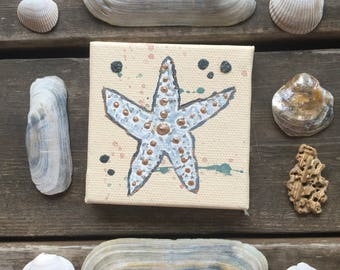 Painting Starfish Sea Shell Mini Painting Acrylic Sand Sea Star