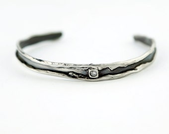 Rolled edge Organic Sterling Silver Cuff with accent cz