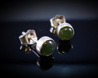 Tiny Sterling Jade Post Earrings