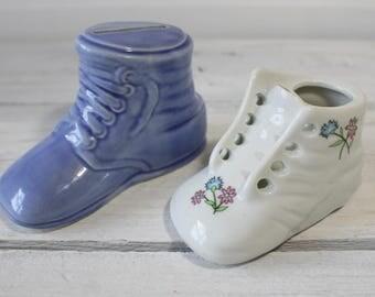 Vintage Shoe Bank, Ceramic Antique baby bank, Baby shoe planter, Lot of 2, cake topper