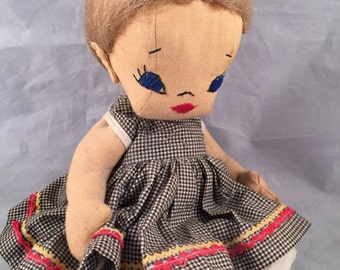 Vintage Hand Made Cloth Stuffed Doll with Hand Sewn Face Gingham Dress