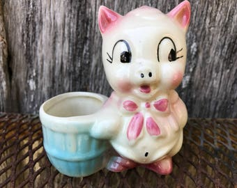 Vintage Adorable PIG and BARREL Pottery Planter
