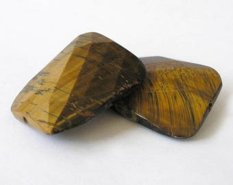 Tiger Eye Beads 30mm x 40mm Rectangle Beads Unique Focal Gemstone Beads For Jewelry Making