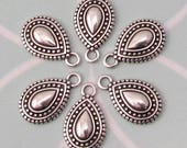 Boho Ethnic Teardrop Charm, Antique Silver, 6 Pieces, AS441