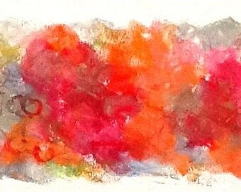 """Blooms, abstract in reds and oranges, c018 (5"""" x 11"""")"""