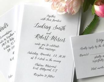 Romantic Wedding Invitations, modern script wedding invites - deposit to begin