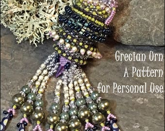 NEWLY RELEASED Bead Tutorial Grecian Urn Beaded Pendant with rotating ring peyote & herringbone stitch pattern instructions by Hannah Rosner