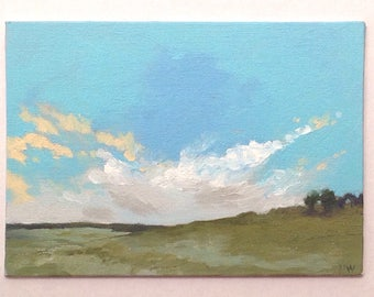 PASTURE, oil painting, landscape, original oil, 100% charity donation, original painting  5x7 canvas panel, clouds