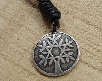 Kabbalah Tree Of Life Charm Leather Necklace