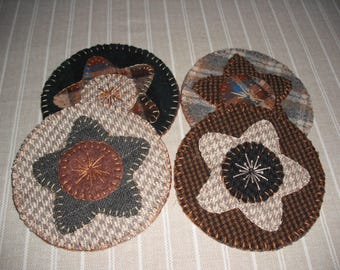 Penny Rug Coaster Kit- Pre-cut wool pieces - ready to stitch- Candle Mat