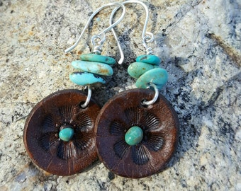 Turquoise and Leather Flower Blossom Earrings - Hand Tooled Leather - Western Jewelry - Cowgirl Jewelry - Southwestern  - Cowgirl Earrings