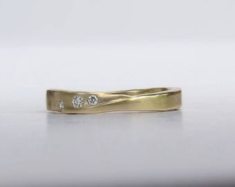 Gold Wedding Band, Unique Gold Wedding Ring, Organic Wedding Band, Gold Stack Band, 14k or 18k