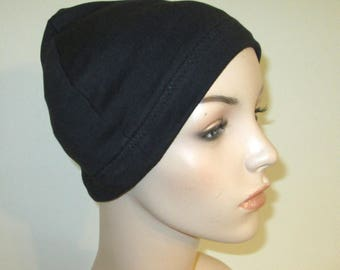 Black Cotton Hat Liner -Chemo, Cancer, Alopecia, Hijab Liner,  Sleep Cap, Scarf Liner