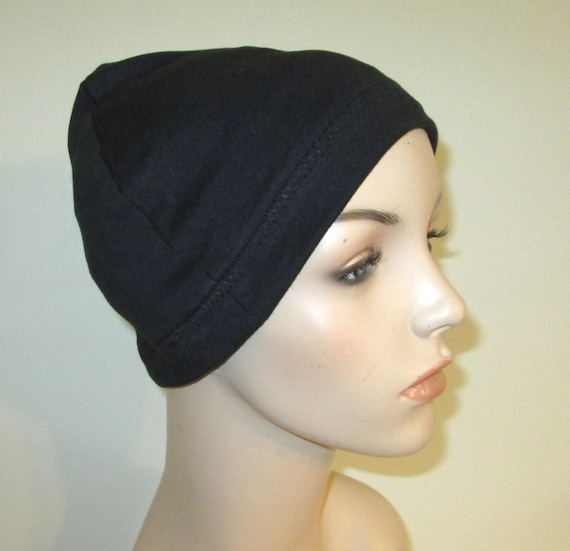 Black Cotton Hat Liner -Chemo, Cancer, Alopecia, Hijab Liner,  Sleep Cap, Scarf Liner