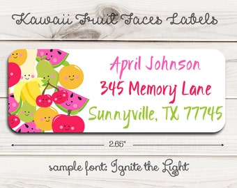 Kawaii Fruit Faces Return Address Labels