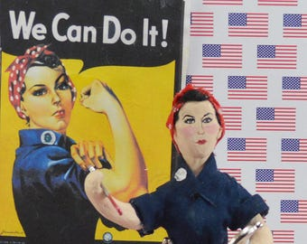 Rosie the Riveter Doll Miniature Historical World War ll Icon Art Collectible