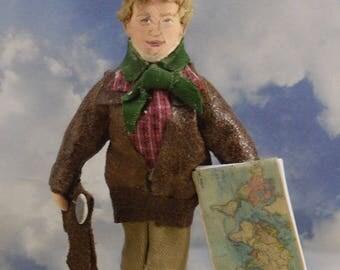 Amelia Earhart Doll Miniature Aviation History Art Figurine