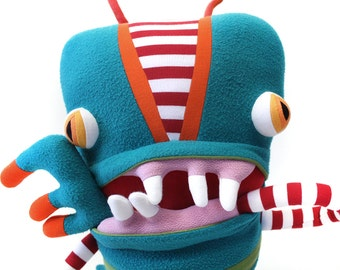 """Plush Big Monster """"Collins"""" Cotton Monster with Pocket Mouth"""