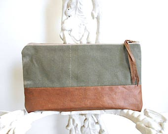 Recycled military canvas, leather utility pouch, mini clutch, bike tool bag - eco vintage fabrics