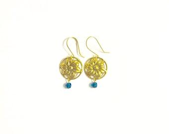 Gold Flower Earrings, Gold and Teal Earrings, Vintage Earrings, Gold Earrings