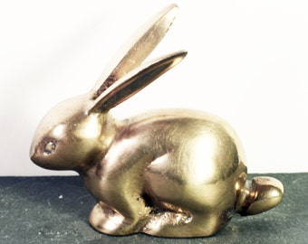 Brass Rabbit Figurine, Bunny Paperweight, Vintage brass animal collectible