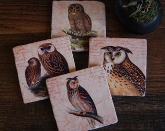 Keepers of the Forest coaster set - owls, woodland, forest creatures, gift idea, stone coasters