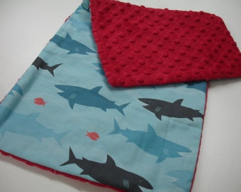 Sharks Baby Burp Cloth with RedMinky 9 X 21 READY TO SHIP On Sale