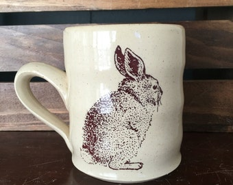 Durable White Stoneware Rabbit Mug