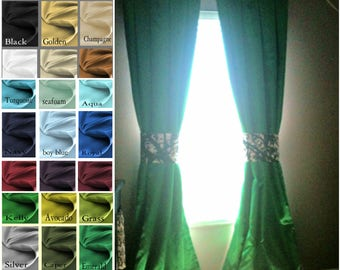 Princess Custom Satin 50 x 108 Drapes Lined -  You pick the color