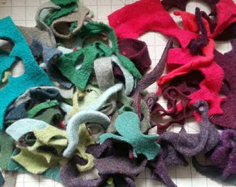 Felted wool scraps, Felt fabric scraps, wool felt fabric, wool sweater scraps, recycled felted wool scraps, sewing project