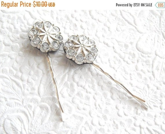 CLEARANCE - 2 white/clear bobby-pins,  hair accessory, womens accessory