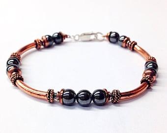 Copper Bracelet Men - Copper Jewelry Men - Hematite Bracelet - Gray Bead Bracelet - Unisex Bracelet - Metal Jewelry - Metal Bracelet