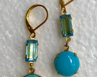 Dainty and Beautiful Turquoise colored earrings   *free shipping**