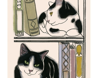 "Cat Art print. Owen and Gordon -  - 4"" X 6"" - 4 for 3 SALE"