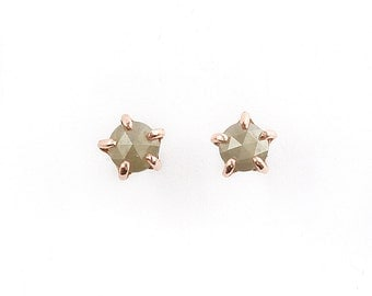 14k Rose Gold 5mm Diamond Stone Warrior Studs | 14k Rose Gold and Diamond Earrings