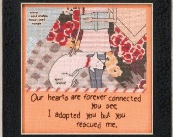 Cross Stitch Kit, You Rescued Me Counted Cross Stitch Kit by Mill Hill, Curly Girl Design Series, Dog Pattern WI