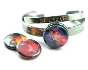NEBULA Bangle Bracelet, Galaxy Bracalet | Stackable Bracelet - 3 Interchangeable Lids, Custom Stamped Initial Back, Gift for Her, Magnetic