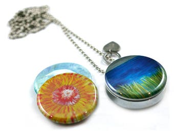 Seattle Abstract Art Necklace | Nature Art Locket | Gift for Her | Magnetic | Reeds | Ocean | Modern Floral Locket | Mountain Scene | Steel