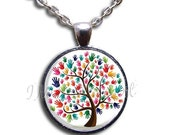 SALE STOREWIDE - Autism Awareness Tree Dome Pendant or with Chain Link Necklace  SM172