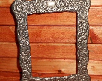 Heavy Antique Silverplated Silver Picture Frame, Old Rustic Silverplate Frame,Beautiful Solid Metal Heavy Frame