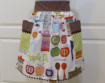 Retro Half Apron, Cute Womens cooking Chic Kitchen Waist Aprons