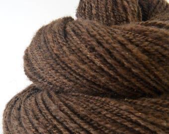 Handspun Natural Polwarth Yarn, Soft Bouncy Brown - 1.5oz, 180yd, WPI 16,