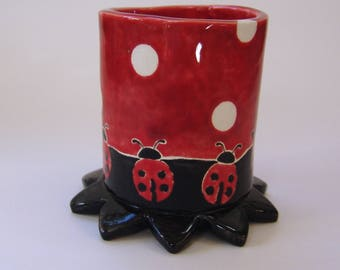 Ladybug pottery Pencil Cup  :) ceramic home decor whimsical hand painted bug pattern w/ polka-dots, lady bug collection