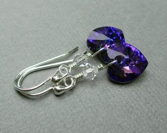 Swarovski Heart Earrings, Blue Purple, Sterling Silver, Swarovski Jewelry, Heliotrope, Crystal Heart Earrings, Gift Under 25