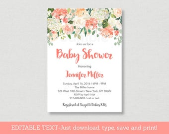 Peach Floral Baby Shower Invitation / Floral Baby Shower Invite / Watercolor Floral Invite / Baby Girl / Editable PDF INSTANT DOWNLOAD A163